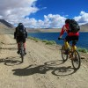Cycling along high-altitude lakes